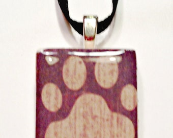 Paw Print Game Tile  Pendant