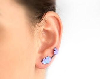 Cloud earrings, miniature stud earrings, cloud ear climber, ear stud earrings, double studs, earrings studs, gift for her, blue earrings