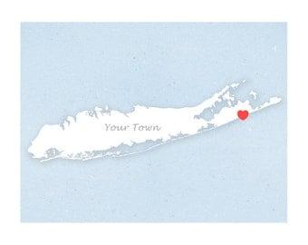 Your Town on Long Island - Simple Heart - 11x14 print - Custom heart location