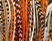 Orange Long 6 Feather Hair Extension - Salon Grade :  Free Micro Link Bead