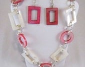 Pink and White Geometrics Mother of Pearl Necklace