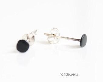 Geometric jewelry, Geometric studs, Black silver studs, Round studs, Minimal black stud earrings, Minimal black studs, Contemporary studs