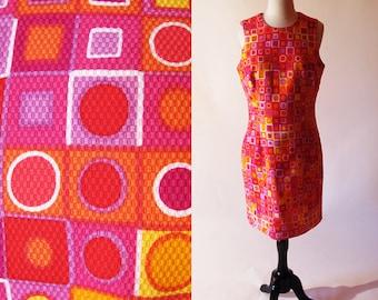 Vintage Cotton Dress, 1980s Sleeveless Graphic Print Dress, Red Summer Dress