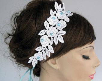 Bridal Headband Lace Applique Light Blue Fascinator Rustic Weddings Dress Belt Beach Wedding Handmade