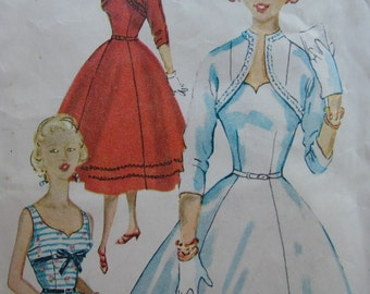 Fabulous Vintage 50's Misses' Dress And Jacket Pattern PARTY TIME GIRL
