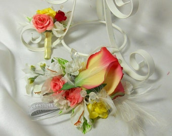 Pink And Yellow Corsage Boutonniere And Hair Flower For Prom Or Formals With Real Touch Roses And Feathers