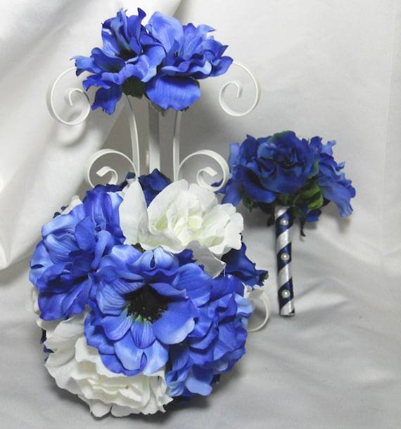 Blue Wedding Bouquet With White Roses And Anemones Bridal