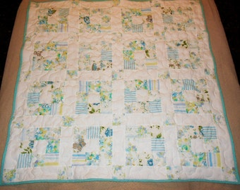 Vintage Sheet Quilt in Blues and Purple