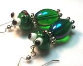 Feelin' Froggy Lampwork Glass Beaded Earrings