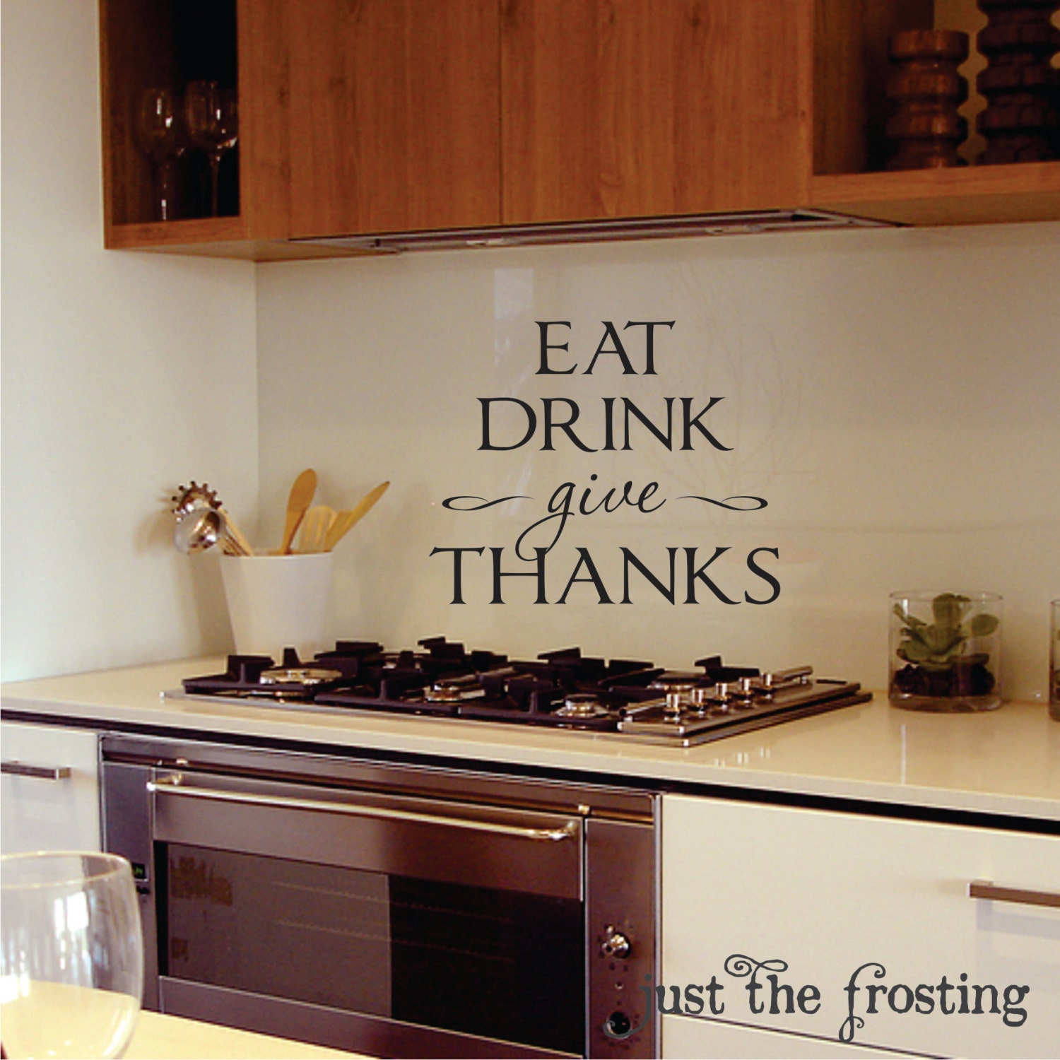 Kitchen or dining wall decals kitchen vinyl lettiring give zoom amipublicfo Choice Image
