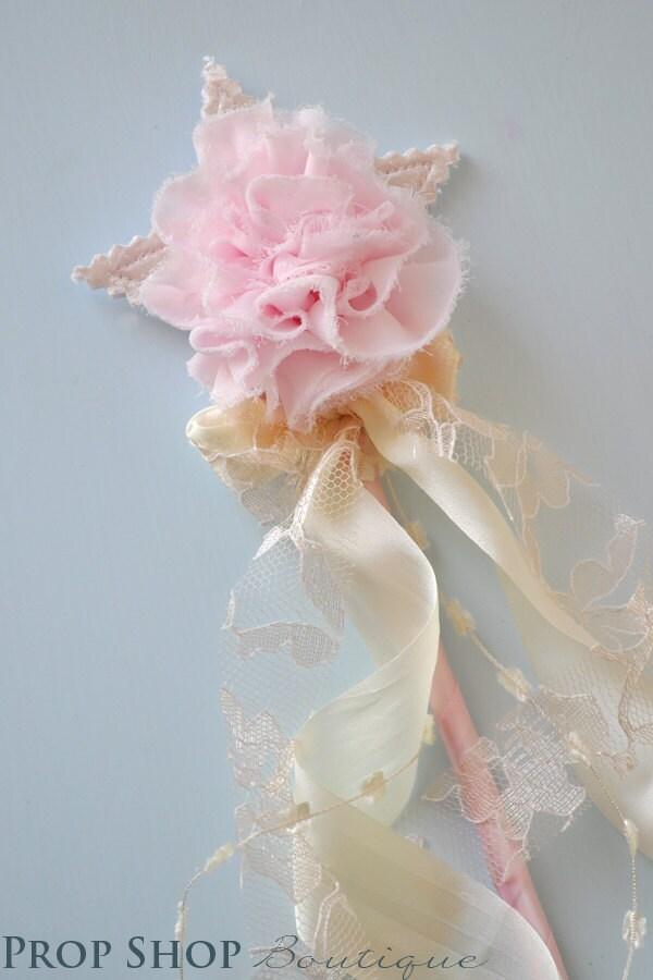 Girls shabby chic rosette wand dress up birthday special - Shabby chic wand ...