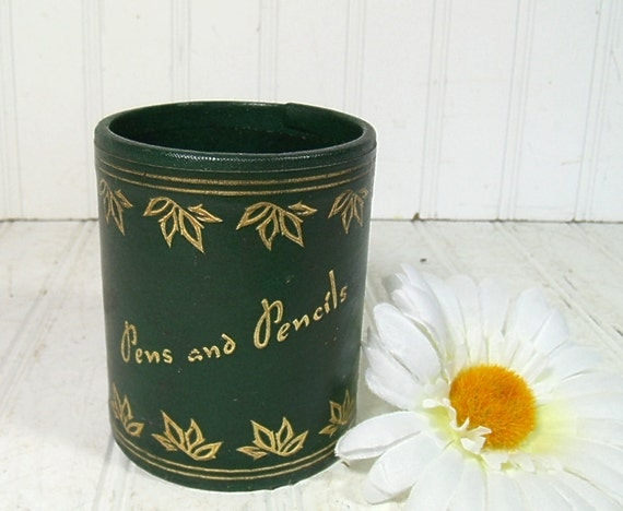 Dark Green with Gold Tooling Desk Cup - Vintage Office Accessory - Shabby Chic Box for Repurposing
