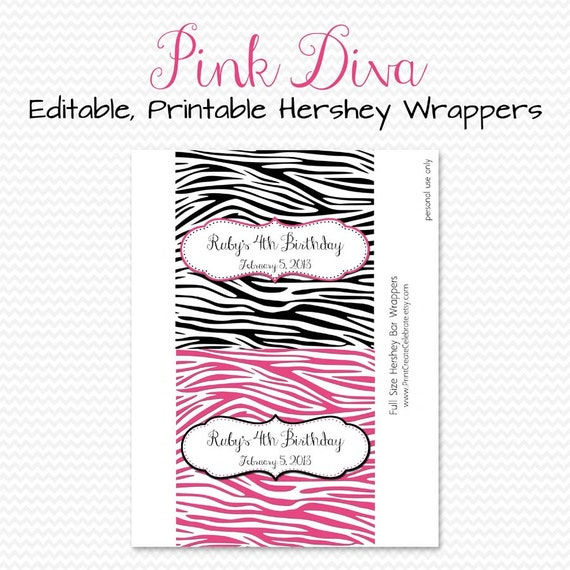 Pink Zebra Party Favor, Candy Bar Wrappers, Candy Bar Label, Pink and Black, Birthday Party  -- Editable, Printable, Instant Download