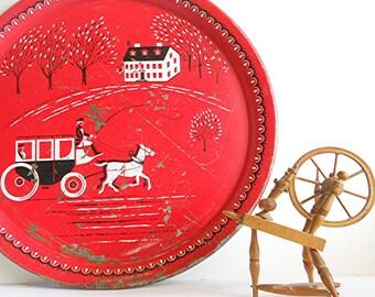 Vintage Serving Tray, Round Metal Red Folk Tray, Pennsylvania Dutch Motif