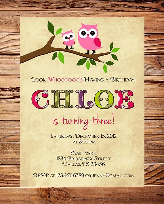 Owl Birthday Invitation Birthday invitation Owl Girl – Owl Birthday Invitations