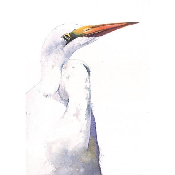 White heron watercolor painting h083 bird painting by for White heron paint