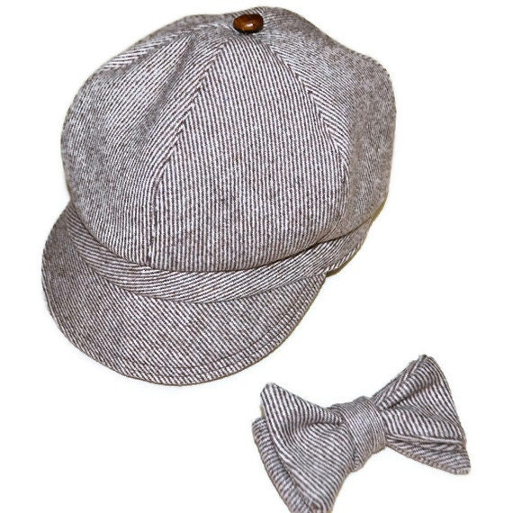 Newsboy hat and bowtie set, wool tweed  brown and white stripe, boys accessories, handmade in Kentucky, USA, AC Ashworth & Company