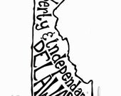 Liberty and Independence Delaware - White Background - 8x10 Illustrated Print by Mandipidy