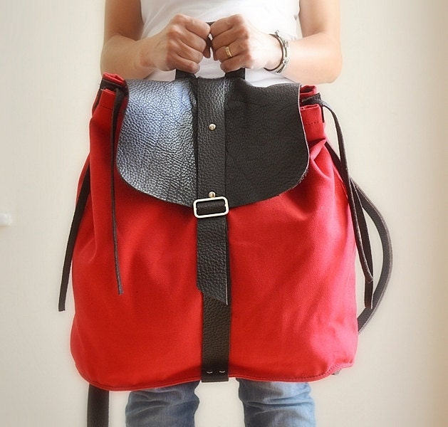leather and canvas backpack rucksack diaper bag shoulder bag. Black Bedroom Furniture Sets. Home Design Ideas