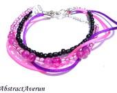 Layered Neon Bracelet - Cord, Wire, Seed Beaded Bracelet - Summer, Pink, Purple Multiple Stacking Bracelet