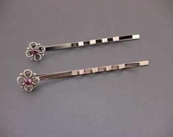 Silver Flower & Dark Rose Crystal Bobby Pins