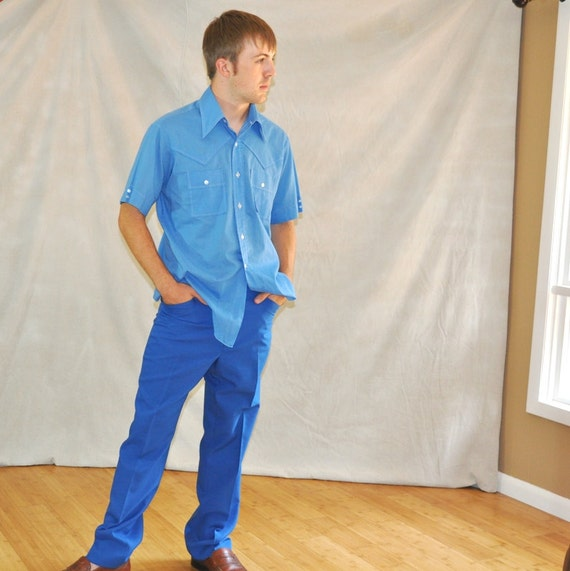 Vintage Golf Pants. Mens Royal Blue Polyester Knit Made in USA