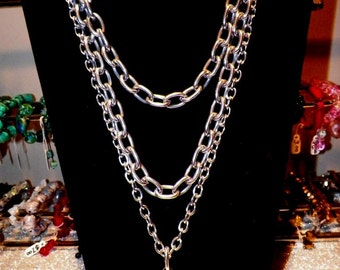 50% OFF !! FLASH BACK Large Reflective Disc Thick Silver Chain Multi Necklace Rave Scene Punk Rock Sexy Costume Cosplay Cyberpunk Futuristic