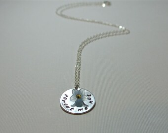 Forget Me Not - Hand Stamped Necklace - Sterling Silver - for friend, lover, soul mate ...
