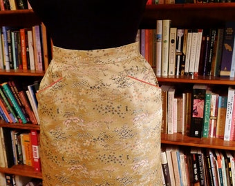 SUZIE WONG Skirt--Sexy Soft Gold 1950s Silk High Wasp Waist Skirt--S