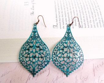 Verdigris filigree earrings-Turquoise filigree earrings- Antique copper earrings- Boho earrings- Lace filigree earrings-Unique earrings