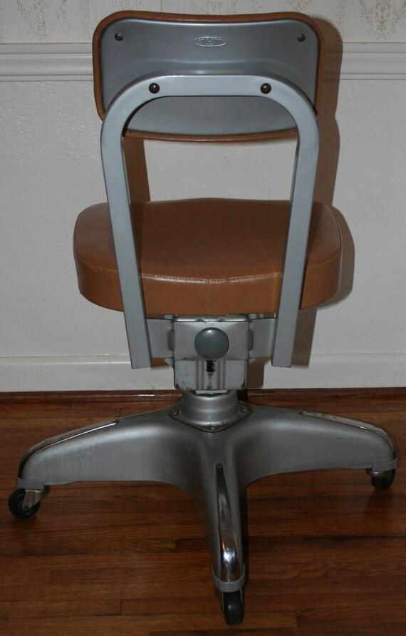 Vintage Industrial Cole Steel Office Chair Vinyl Upholstery