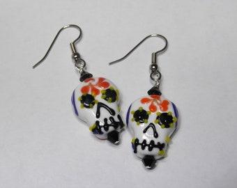 Festive Citrus Sugar Skull Earrings - Day of the Dead, Lampwork, Yellow, Blue, Orange - Great Gift