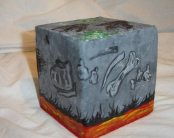Fossils and bones original painting on a wood block stone lava block dinosaur bone spider