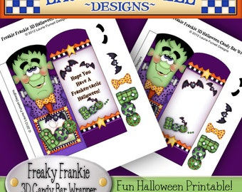 Freaky Frankie 3D Halloween Candy Bar wrapper