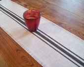 Striped Table Runner 10 x 60 - Black Grain Sack Style Stripes - Other Colors Available - Burlap Table Runner