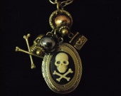 Bronze Locket  Necklace,  Gothic Pirate Skull and Cross Bones Cameo With Pearls And Charms