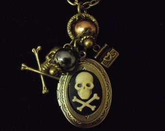 Bronze Locket  Necklace,  Gothic Pirate Skull and Cross Bones Cameo With Pearls And Charms Womens Gift  Handmade
