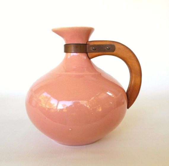 Franciscan Ware Pitcher Wood Handle Carafe Salmon Peach Pink Pottery