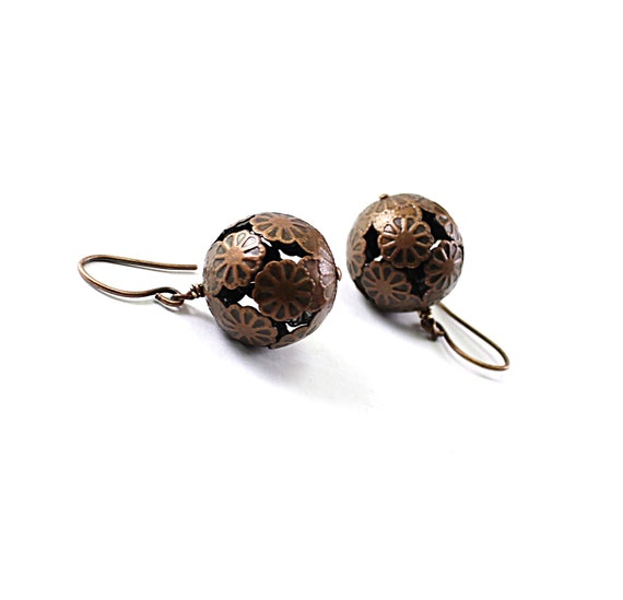 Copper earrings - filigree earrings, rustic dangle flower balls brown