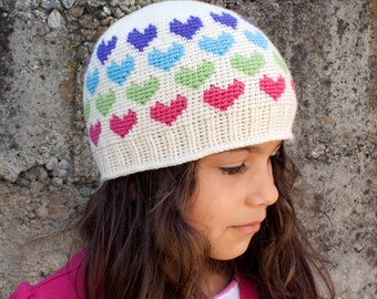 Crochet Pattern-- All Ages Hearts Abound Beanie --Crochet Pattern