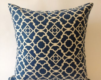 Decorative Pillow Cover - 20x20 Blue & Off White Medium Weight Lattice Cotton Print  -Invisible Zipper Closure- Cushion Cover