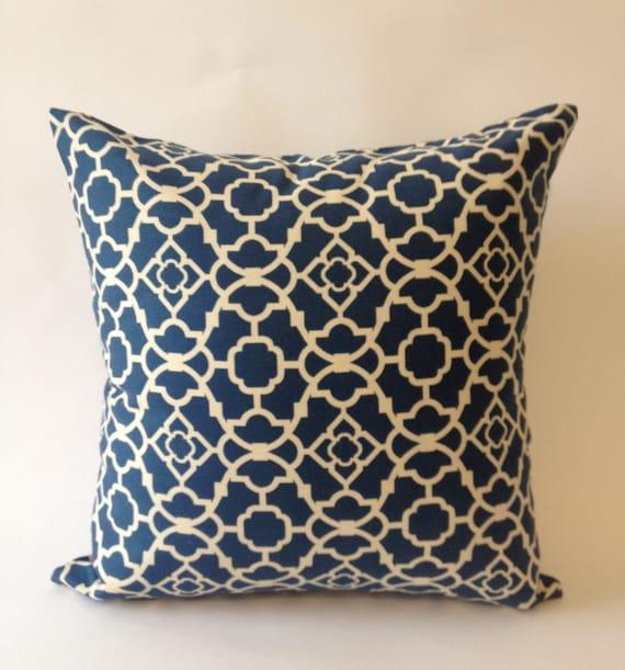 Blue & Off White Medium Decorative Pillow Cover 20x20