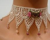 White Lace Choker Victorian Handmade