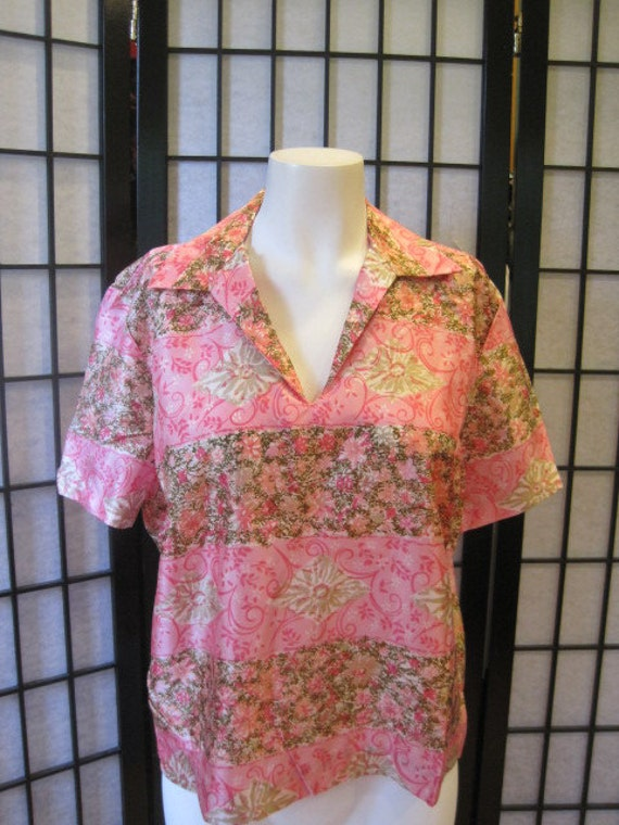 Vintage Blouse Pullover 1950s 1960s Short Sleeve Floral Pink Olive Green Taupe White Extra Large 12 14 44 Bust L XL XXL Volup Big Gal