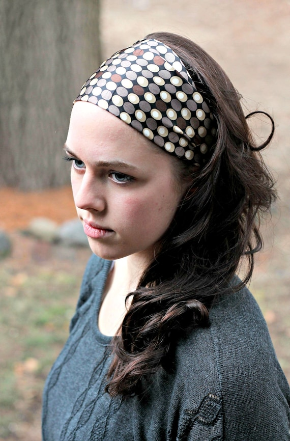 Silky Brown Black Cream Polka Dot Head Covering Stretch Back Headwrap