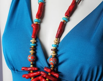 Red Tribal Necklace / Red and Turquoise / Handmade Clay Coral Bead Necklace