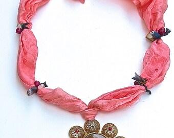 Vintage Gypsy Pink Silk Gemstone Necklace -Bold Sun Pendant Sunflower