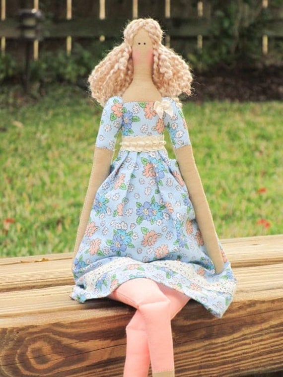 Fabric doll blonde -cloth doll blue in peach flower dress,art doll, stuffed doll. Lovely handmade doll- gift for girl and mom