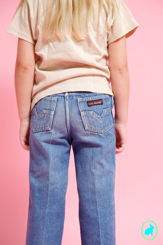 Vintage Kids Jeans - Distressed Faded Denim - Size 5 Small