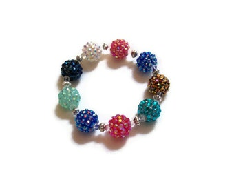 Rhinestone Bracelet of Berry  Beads